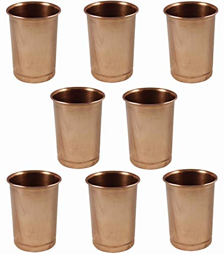 SKAVIJ Pure Copper Water Tumblers Handmade Plain Drinking Cups (Pack of 8, 11 Ounce)