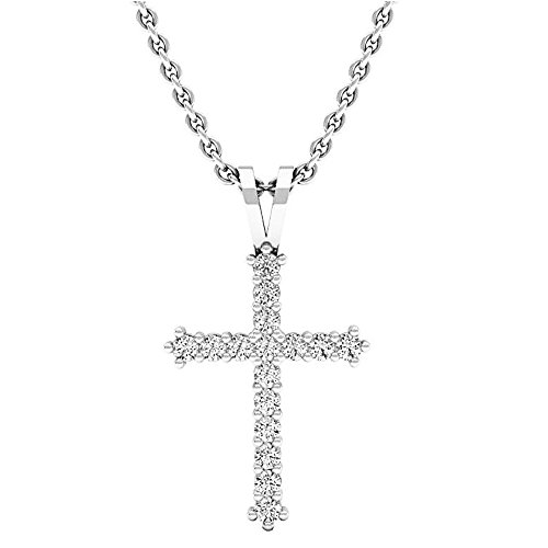 Dazzlingrock Collection 0.25 Carat (ctw) 10K White Gold Round Diamond Ladies Cross Pendant 1/4 CT (Silver Chain ()