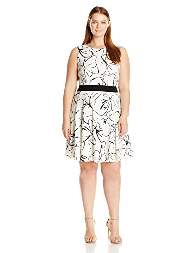 Taylor Printed - Julian Taylor Women's Plus Size Scribble Printed Fit and Flare Sleeveless Dress, Ivory/Black, 14W