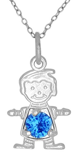 Happy Baby Boy Sterling Silver December Blue Birthstone Pendant Necklace and Chain