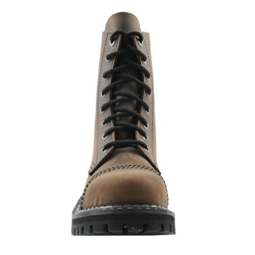 Angry Itch - 8-agujeros botas goticas punk de cuero marrón - Número 36-48 - Hecho in EU!