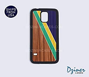Galaxy S5 Heavy Duty Tough Case Cover - Wood Geomatric Stripes (Not Real Wood)