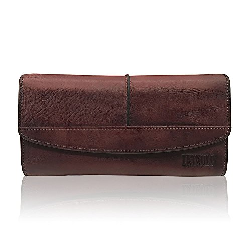 Womens Wallets Genuine Leather Large Capacity Handmade Card Holder Purse (coffee) by ORIREAL