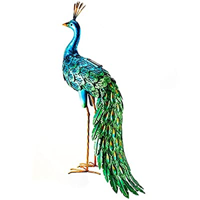 Chisheen Statues Outdoor Metal Art Peacock Solar Lights for Lawn Backyard Party Wedding