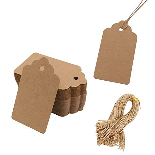 SallyFashion 200pcs Kraft Paper Gift Tags with Free 200 Root Natural Jute Twine(Water Ripple),
