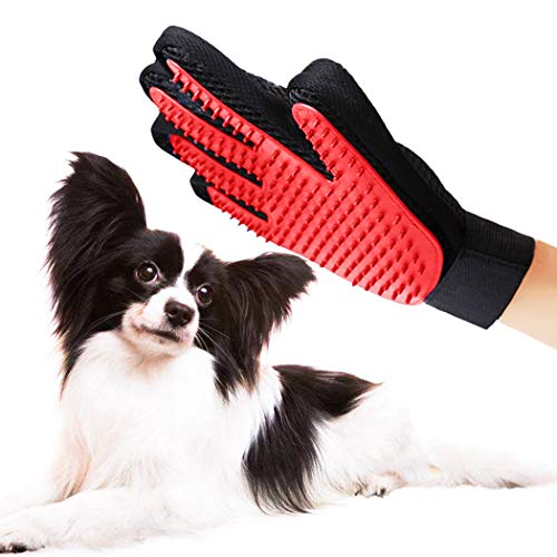 Petea Dog Cat Grooming Glove Gentle Deshedding Brush Glove Enhanced Five Finger Design Efficient Pet Puppy Hair Remover…