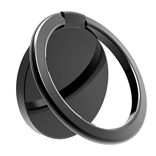 Finger Ring Stand, Cell Phone Ring Holder Stand 360° Rotation Cell Phone Finger Ring Holder Phone Ring Grip Compatible with Magnetic Car Mount(Black) ()