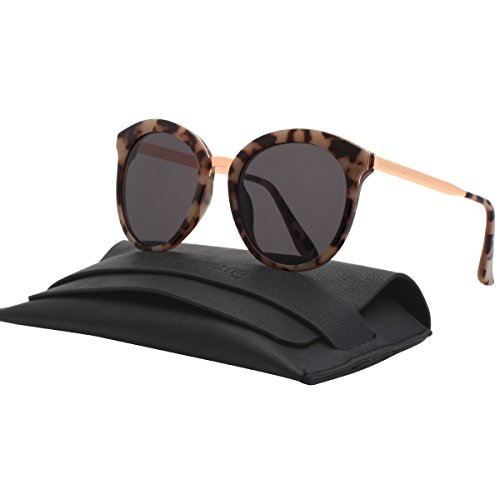 Korean Fashion Flat Lens Women's Oversized Sunglasses Round Shades For Unisex P2196B Demi - Glasses Shell Tortoise Real
