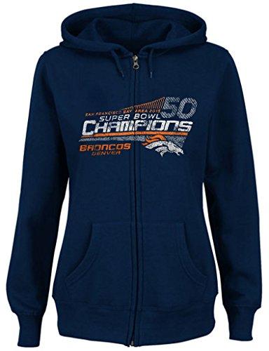Denver Broncos NFL Womens Superbowl 50 Champ Hoodie Navy Blue Adult Sizes (XL)