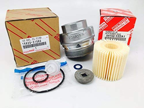 Genuine Toyota ENGINE OIL FILTER with Genuine Toyota HOUSING CAP, includes drain plug and crush washer