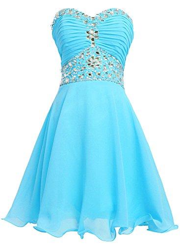 Bbonlinedress Vestido De Mujer Fiesta Noche Boda Corto Escote Corazón De Gasa Azul
