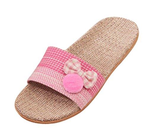 Cattior Womens Linen Indoor Slippers Ladies Slippers Open Toe Pink