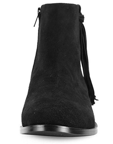 Abusa Bottine Cheville Bout Rond Cône Talon Avec Glissière Latérale Sangle De Boucle Bottes-cuir Noir