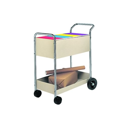 Fellowes 40922 Steel Mail Cart, 150-Folder Capacity, 20w x 40-1/2d x 39h, Dove -