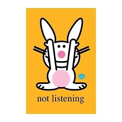 Amazon Com Buyartforless Happy Bunny Listening Not Listening