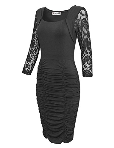 Tom's Ware Womens Elegant Lace Long Sleeve Ruched Bodycon Midi Dress