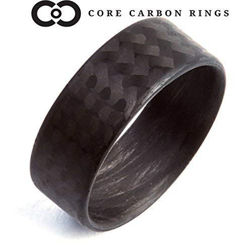 (Men's or Women's 100% Carbon Fiber Twill Matte Ring - Handcrafted -Lightweight - Black Band - Custom Band widths)