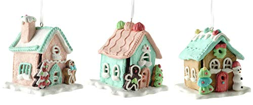 Gerson Gingerbread House Lighted Clay Dough Hanging Ornament - Set of 3