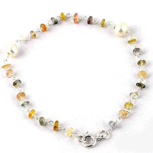 Orchid Jewelry Multi Sapphire, Freshwater Pearl 925 Sterling Silver Bracelet