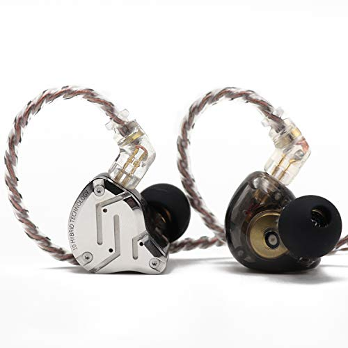 Pro Pin Specs - KZ ZS10 Pro, Linsoul 4BA+1DD 5 Driver in-Ear HiFi Metal Earphones with Stainless Steel Faceplate, 2 Pin Detachable Cable (Without Mic, Black)