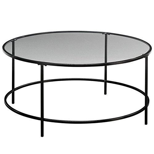 Sauder 414970 Harvey Park Coffee Table, L: 35.98' x W: 35.98' x H: 16.50', Black/Clear Glass