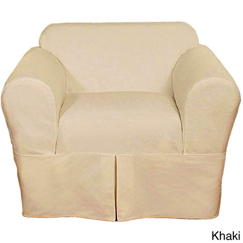 Classic Slipcovers Two Piece Twill Chair Slipcover Khaki