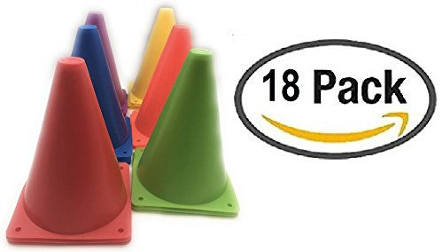 18 piece Plastic Traffic Cones with Carry On bag for Construction Theme,Party,Sport Activity Kids Outdoor and Indoor Gaming and Festive (Outdoor Obstacle Markers)