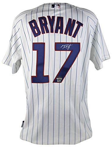 Cubs Kris Bryant Authentic Autographed Signed White Pinstripe Majestic Jersey Fanatics Authentic Autographed Majestic Authentic Pinstripe Jersey