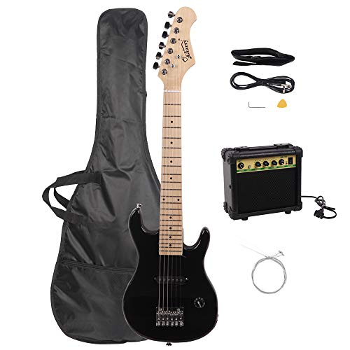 Glarry 30″ mini Maple Fingerboard Electric Guitar for Kids with 10W Amp and Accessories Pack Guitar Bag (Black)