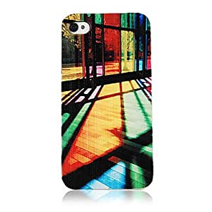 TY Colorful Glass Light Pattern Transparent Frame Back Case for iPhone 4/4S