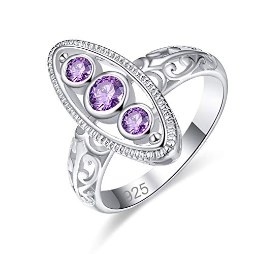 Mavonne 925 Sterling Silver Created Pink Topaz Filled 3 Stones Promise Ring for Her (Color : Purple, Size : 6) (Promise Rings For Her 60)