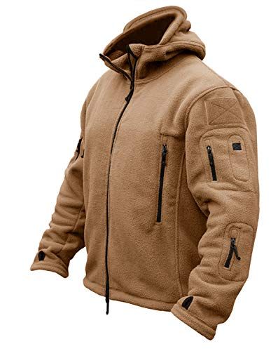CRYSULLY Men Autumn Winter Mountain Climbing Hunting Travelling Hoodie Ripstop Fleece Jacket Brown