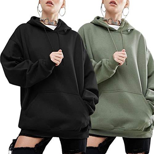 Tinta Outwear Da Con Cappuccio Maniche Unita Qiuxiaoaa Pipistrello Nero Casual Felpe S A Oversize Donna Felpa tatwvq8