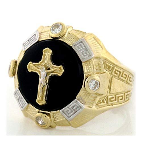 Onyx Mens Cross Ring - 10k Gold Two-Tone Mens Onyx Crucifix Cross Jesus Ring (Style# 1947) - Size 11