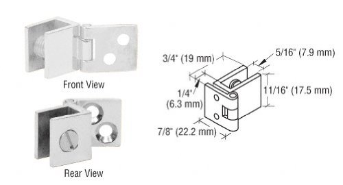 C.R. LAURENCE EH176 CRL Chrome Small Wall Mount Hinges