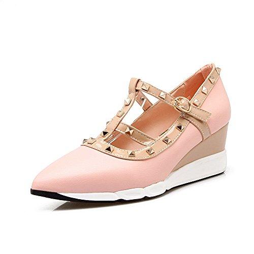 AllhqFashion Damen Gemischte Farbe Schnalle Spitz Zehe Mittler Absatz Pumps Schuhe Pink