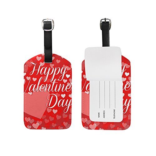Travel Luggage Tag Happy Valentines Day Big Heart PU Leather Baggage Suitcase Tag Name Address ID Label 1 (Big Stripes Address Label)