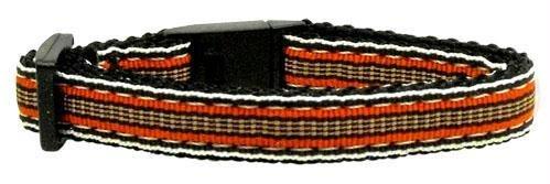 Preppy Stripes Nylon Ribbon Collars Orange/Khaki Cat Safety (24 Pack) [Misc.]