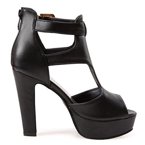 Peep Femme Chaussures Sangle Sandales Noir COOLCEPT Eclair Toe Mode De Cheville Bloc Fermeture Avec YcxWdwW