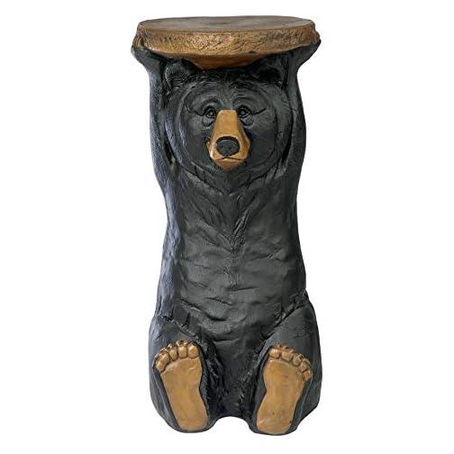 Design Toscano Black Forest Bear Pedestal Table Rustic Cabin Decor, 24 Inch, multicolored
