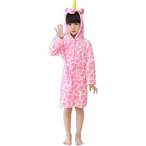 LANTOP Kids Soft Bathrobe Comfy Unicorn Flannel Robe Unisex Hooded Gift All Seasons Sleepwear]()