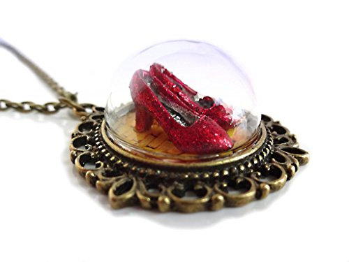 (Little Gem Girl Wizard of Oz Ruby Red Slippers on the Yellow Brick Road Glass Dome Brass 20 in)
