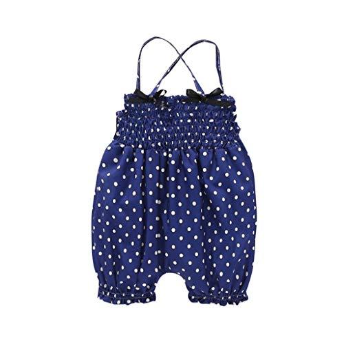 - Sikye Toddler Newborn Baby Girl's 1 Pcs Romper Dot Print Sleeveless Jumpsuit Clothes Flare Pant (Dark Blue, 70 (3-6M))