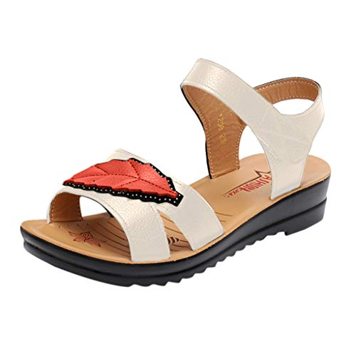 Toimothcn Women Vintage Comfortable Flat Shoes Summer Casual Leaf Peep Toe Sandals Office Shoes (Beige,US:6.5)