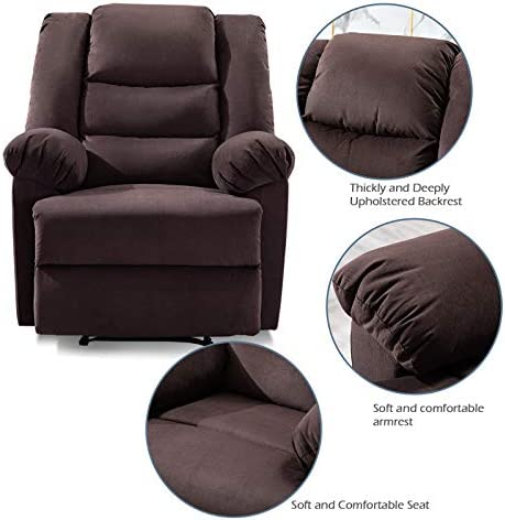 ANJ Soft Fabric Recliner Chair Seat for Living Room Manual Overstuffed Single Sofa Chocolate