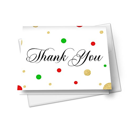 Christmas Thank You Card Stationery Set (set of 15) Festive Dot
