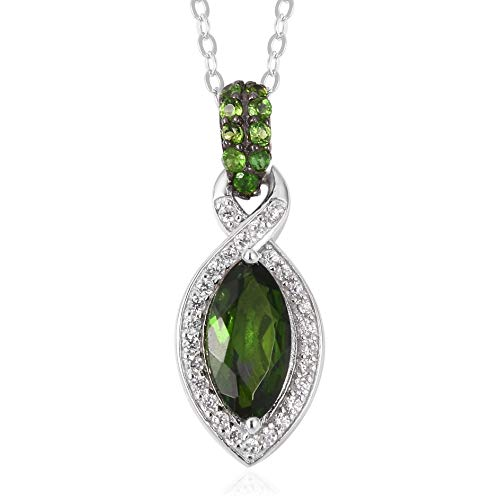 - 925 Sterling Silver Marquee Chrome Diopside White Zircon Pendant Necklace for Women 18