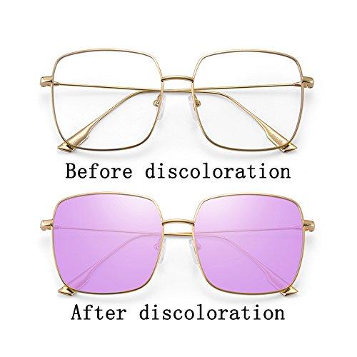 Purple Gafas Color UV De Moda LIUXUEPING De Color Gran Sol Pink Gafas Marco Nuevas De De Anti Sol De 8aSqBUa