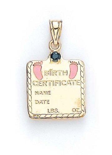 "14 carats-Saphir-Bébé Fille - 1 certificat de naissance, 1/16 ""- JewelryWeb"