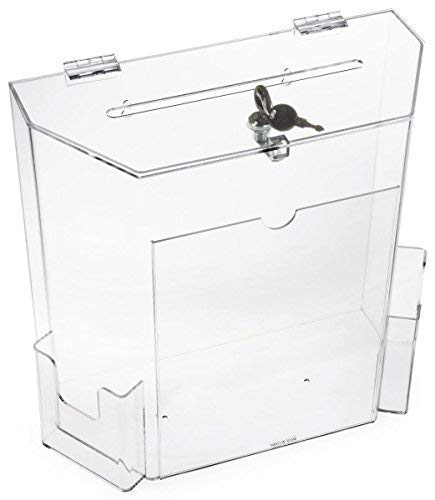 Charity Donation Acrylic Ballot Box w/ 8'' x 4'' Frame, Lock & 2 Pockets, Wall mounting or Tabletop by My Charity Boxes